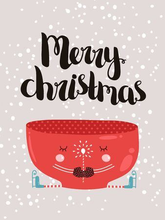 cofe: Merry christmas card with hand drawn lettering and cute mug, vector new year postcard