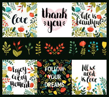 Sada inspirativní a romantických karty s rukou vypracován nápisy, roztomilých květin a srdce. Život je krásný, užít si každý chvíle, Následuj své sny, Všechno, co potřebuješ, je láska, Děkuji
