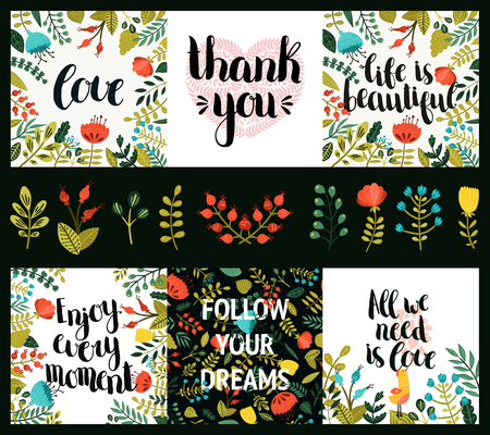 Set of inspirational and romantic cards with hand drawn lettering, cute flowers and heart. Life is beautiful, Enjoy every moments, Follow your dreams, All we need is love, Thank you Ilustracja