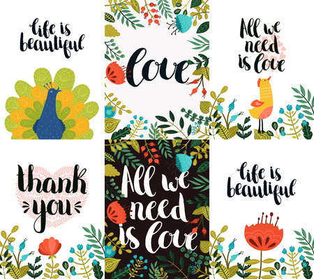 love life: Set of inspirational and romantic cards with hand drawn lettering, peacock, animal, bird, cute flowers and heart. Life is beautiful, All we need is love, Thank you Illustration