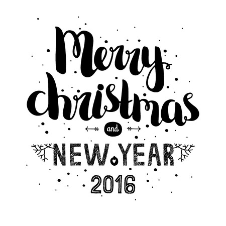 Merry christmas card with hand drawn lettering and snowflake, vector new year postcard 2016 Imagens - 46007373