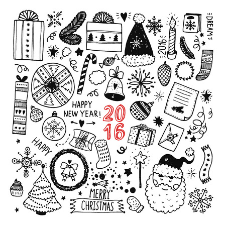 Christmas doodle collection, hand drawn new year elements for isolated on white background Vectores