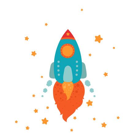 stars cartoon: Space rocket flying with stars, cartoon spaceship on white background Illustration