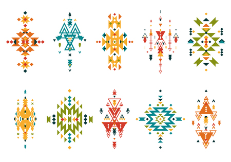 mexican black: Vector Tribal elements, ethnic collection, aztec style, tribal art, colorful tribal design isolated on white background