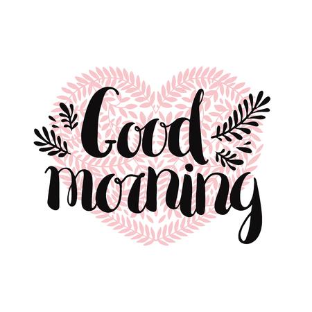 おはようカードします。ベクターの手描きの心と枝レタリング 写真素材 - 46007576