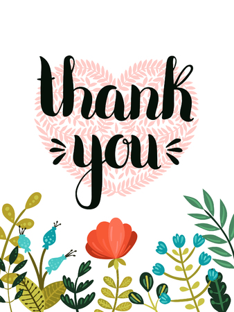 Thank you card. Vector hand drawn lettering with cute flowers, Romantic poster for design save the date, valentines day cards and more