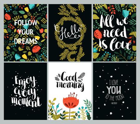 te negro: Conjunto de tarjetas de inspiración y románticas con letras dibujado a mano, flores lindas y estrellas. Siga sus sueños, Hola, Todo lo que necesitamos es amor, disfrutar de cada momento, Buenos días, Te amo a la luna