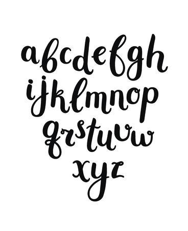 벡터 손을 흰색 배경에 알파벳을 그린. 브러쉬 펜으로 쓴 편지. 잉크 ABC