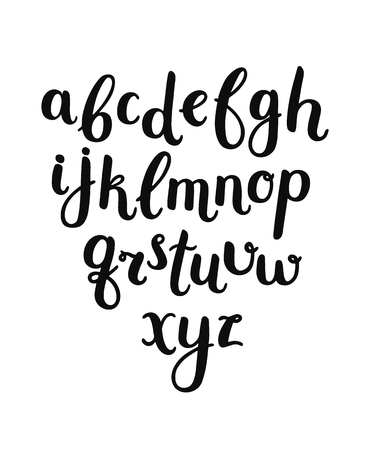 Vector Hand Drawn Alphabet on white background. Letters written with a brush pen. Ink abc