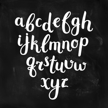 Vector Hand Drawn Alphabet on chalkboard. Letters written with a brush pen. Ink abc