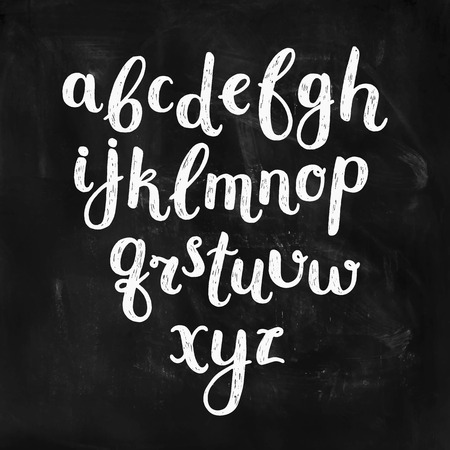 expression: Vector Hand Drawn Alphabet on chalkboard. Ink Letters, abc