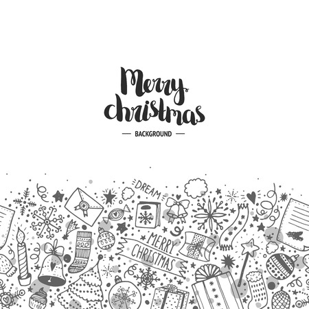 Christmas doodle background, seamless pattern with hand drawn new year elements and christmas lettering on white background. For design web banners, footers, headers and more
