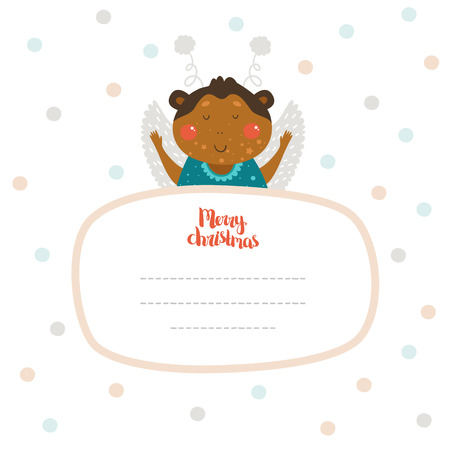 winter wish: Merry Christmas and Happy New year card with cute monkey and Typographic Wish. Cute Greeting card on winter background