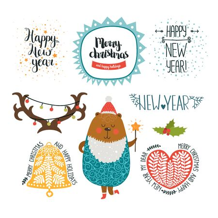 merry: Merry Christmas and New years elements on white background. Cute bear, bell, horns, heart, snow and hand drawn lettering