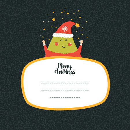 winter wish: Merry Christmas and Happy New year card with cute tree and Typographic Wish. Cute Greeting card on winter background