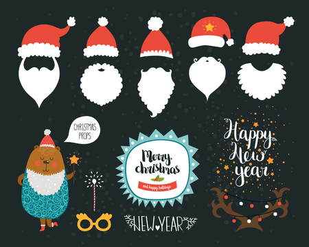 animal border: Christmas Decoration collection, Props and cute photo overlays. Santa hat, beard, glasses, horns, speak bubble, bear and magic wand. Vector set with cute illustrations and Merry Christmas and Happy new year lettering Illustration