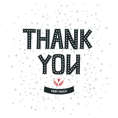 thank you very much: Thank you card with hand lettering, ribbon and heart. Vector Thank You very much