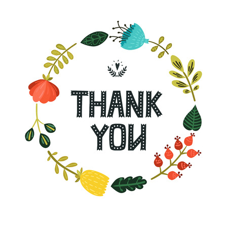 thanks you: Thank you card with hand lettering and cute floral wreath on white background