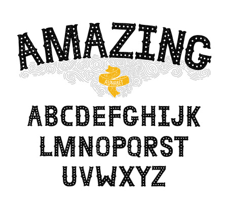 abc: Vector Hand Drawn Alphabet with Vintage letters on white background. Decorative Font for accentuation, Ink Letters, abc