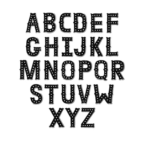 Vector Hand Drawn Alphabet with Vintage letters on white background. Decorative Font for accentuation, Ink Letters, abc Фото со стока - 47456942