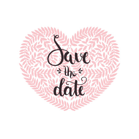 handdrawn: Romantic Typography poster with hand drawn lettering, Save the date. Vector printable card with letters and heart for design wedding cards, invitations and more Illustration