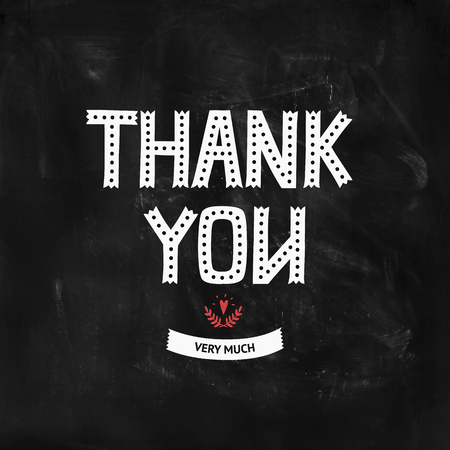 thank you very much: Thank you card with hand lettering, ribbon and heart on chalkboard. Vector Thank You very much