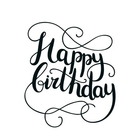 手描き背景にレタリングと誕生日カード。筆ペンで書かれた文字
