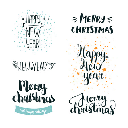 new year celebration: Set of hand drawn Merry christmas and Happy new year lettering. Winter decoration elements for design greeting cards, invitations and more Illustration