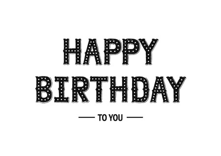 Happy birthday card with hand drawn lettering on white background. Decorative vintage letters for design invitations, posters, cards Imagens - 48010342