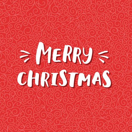 curle: Merry Christmas and Happy New Year card with hand drawn lettering on red curle background. Cute Holiday pattern
