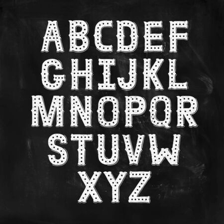Vector Hand Drawn Alphabet with Vintage letters on chalkboard. Decorative Font for accentuation, Ink Letters, abc