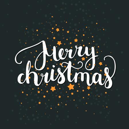 joyeux noel: Joyeux Noël et Bonne Année carte avec le lettrage et les étoiles dessiné à la main sur fond noir. Mignon fond de vacances