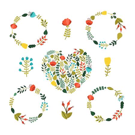 Ensemble de couronne de fleurs avec des fleurs colorées mignonnes, les branches et le c?ur isolé sur fond blanc Banque d'images - 48010506