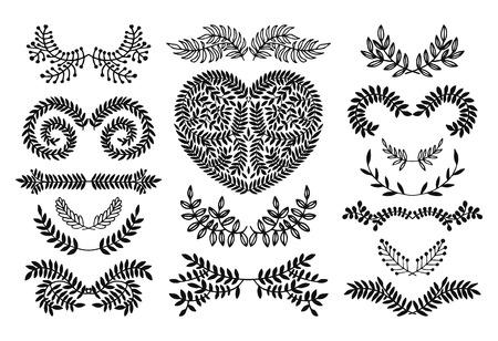 Set of vector handdrawn set, floral doodle collection. Decoration elements for design invitation, wedding cards, valentines day, greeting cards Ilustração
