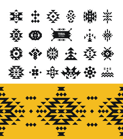 Vector Tribal elements with hipster logo, aztec patterns and ethnic symbols isolated on white background Ilustracja
