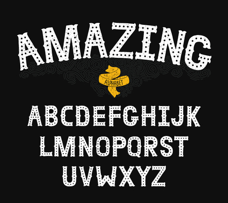 abc: Vector Hand Drawn Alphabet with Vintage letters on black background. Decorative Font for accentuation, Ink Letters, abc