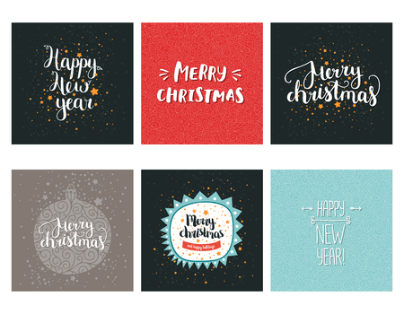 tarjetas a�o nuevo: Vector Christmas and New year cards collection with handdrawn lettering. Xmas cards on winter background