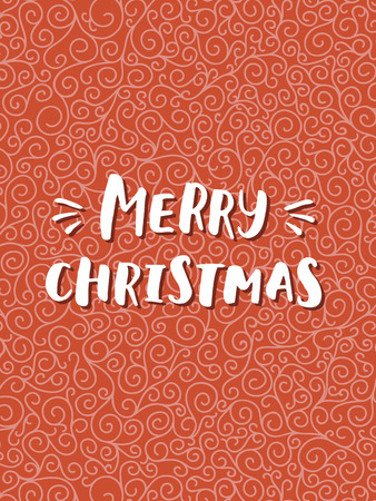 curle: Merry Christmas card with hand drawn lettering on red curle background. Cute Holiday pattern