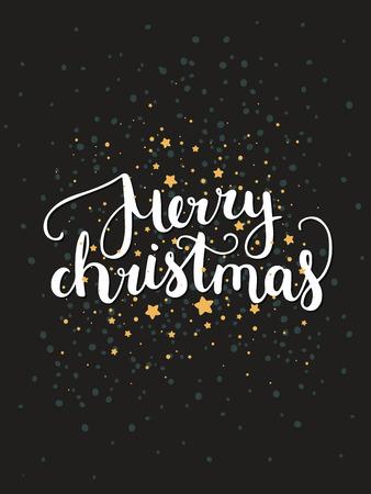 estrellas de navidad: Tarjeta de Navidad Feliz con letras dibujado a mano y las estrellas sobre fondo oscuro. Fondo lindo de vacaciones