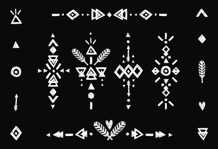 flashes: Hand drawn tribal collection with stroke, line, arrow, decorative elements, feathers, geometric symbols ethnic style. Flash Tattoo isolated on black background