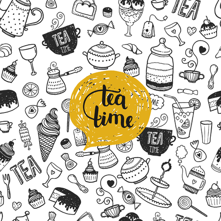 chocolate caliente: D� la ilustraci�n La hora del t� dibujado, vector de fondo del doodle con la tetera, vidrio, magdalena, decoraci�n, t�, helado, taza y dulces