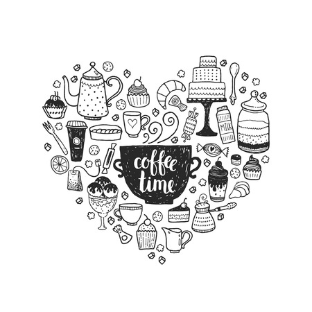 Hand drawn Coffee time illustration, vector doodle set with teapots, glass, cupcake, decoration, tea, icecream, cup and sweets of a heart