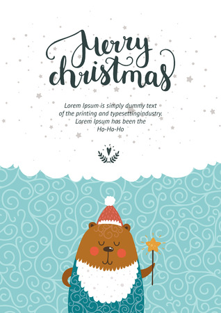 christmas cute: Vector Christmas and New year card with handdrawn lettering and cute bear. Xmas template on winter background