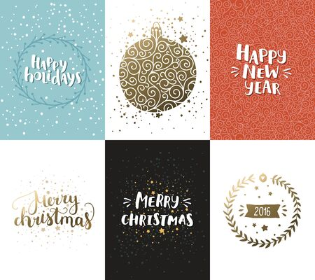 xmas background: Vector Christmas and New year cards collection with handdrawn lettering. Xmas cards with gold elements on winter background Illustration
