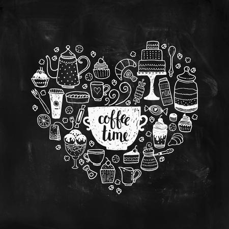 Hand getrokken koffie tijd illustratie, vector doodle set met theepotten, glas, cupcake, decoratie, thee, ijs, beker en snoep van een hart