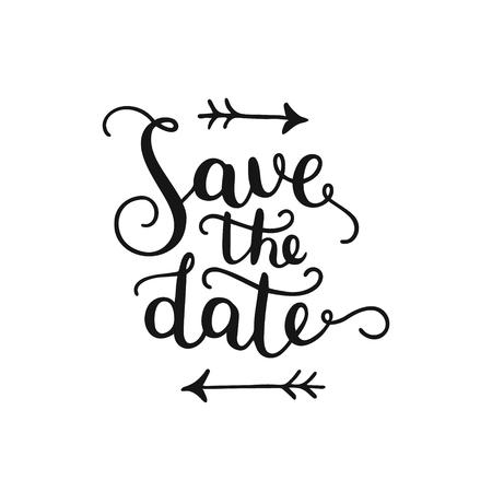 date: Speichern Sie das Datum, von Hand gezeichnet Beschriftung für Design Hochzeit, Einladung, Foto-Overlays und speichern die Datumskarten Illustration