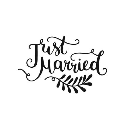 , Lettrage dessiné à la main Just married pour invitation conception de mariage, des superpositions de photos et enregistrer les cartes de date