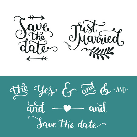 overlays: Save the date collection with hand drawn lettering, ampersands and catchwords. Vector set for design wedding invitation, photo overlays and save the date cards Illustration