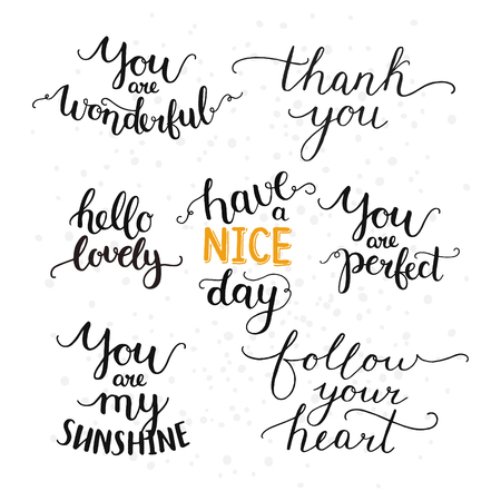 thank you cards: Vector photo overlays, hand drawn lettering collection, inspirational quote. Hello lovely, thank you, follow your heart, you are my sunshine, have a nice day and more on white background