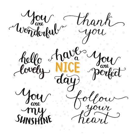 Vector superposiciones fotográficas, colección de letras dibujado a mano, cita inspirada. Hola preciosa, gracias, sigue su corazón, usted es mi sol, tener un buen día y más en el fondo blanco